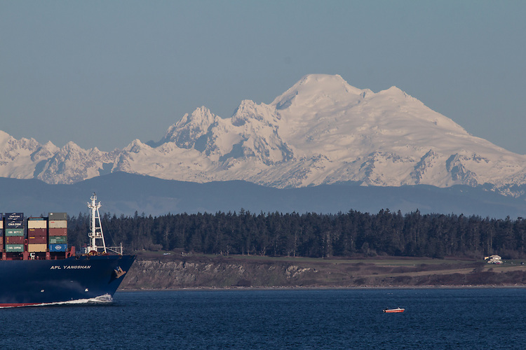 APL Yangshan, Container ship, Mount Baker, Puget Sound, Washington State, Pacific Northwest, CMA CGM