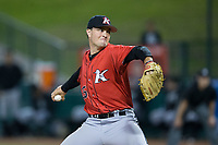 Kannapolis Intimidators relief pitcher Kade McClure (35) in action against the Greensboro Grasshoppers in Game One of the South Atlantic League Northern Division playoff series at First National Bank Field on September 7, 2017 in Greensboro, North Carolina.  The Intimidators defeated the Grasshoppers 4-0.  (Brian Westerholt/Four Seam Images)