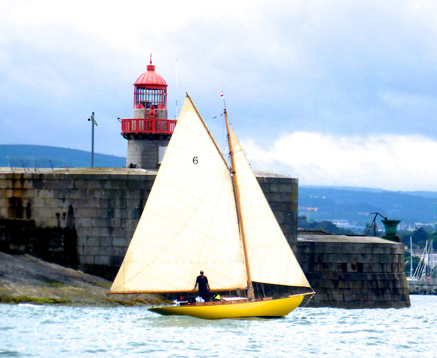 The return to Dun Laoghaire of the restored Dublin Bay 21 Naneen a fortnight ago was the realisation of the faithfully maintained vision of Fionan de Barra and Hal Sisk. Photo: W M Nixon