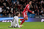 Real Madrid's Luka Modric and Girona FC's Douglas Luiz during Copa del Rey match between Real Madrid and Girona FC at Santiago Bernabeu Stadium in Madrid, Spain. January 24, 2019. (ALTERPHOTOS/A. Perez Meca)