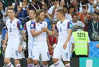 celebrate the goal, Torjubel zum 1:1 Ausgleich von Alfred Finnbogason (Island, Iceland)  mit Birkir Bjarnason (Island, Iceland)- 16.06.2018: Argentinien vs. Island, Spartak Stadium Moskau