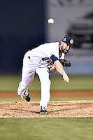 Asheville Tourists pitcher Scott Firth (23) delivers a pitch during game two of a double header against the Greenville Drive on April 18, 2015 in Asheville, North Carolina. The Drive defeated the Tourists 10-4. (Tony Farlow/Four Seam Images)