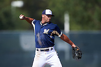Milwaukee Brewers George Iskenderian (8) during an instructional league game against the Cleveland Indians on October 8, 2015 at the Maryvale Baseball Complex in Maryvale, Arizona.  (Mike Janes/Four Seam Images)