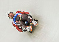 4 December 2015: Andris Sics and Juris Sics, sliding for Latvia, bank into a turn on their first run of the Doubles Competition during the Viessmann Luge World Cup Series at the Olympic Sports Track in Lake Placid, New York, USA. The team from Latvia posted a combined time of 1:28.107 for a third place finish in the Doubles Competition. Mandatory Credit: Ed Wolfstein Photo *** RAW (NEF) Image File Available ***