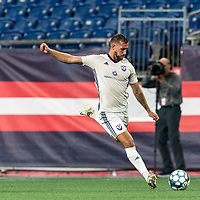 FOXBOROUGH, MA - SEPTEMBER 5: Nick O'Callaghan #2 of Tormenta FC passes the ball during a game between Tormenta FC and New England Revolution II at Gillette Stadium on September 5, 2021 in Foxborough, Massachusetts.