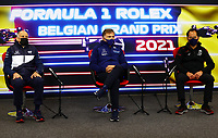 27th August 2021; Spa Francorchamps, Stavelot, Belgium: FIA F1 Grand Prix of Belgium, free practise:  F1 Grand Prix of Belgium Franz Tost AUT, Scuderia AlphaTauri Honda, Jost Capito GER, Williams Racing, Laurent Rossi FRA, CEO of Alpine at press conference