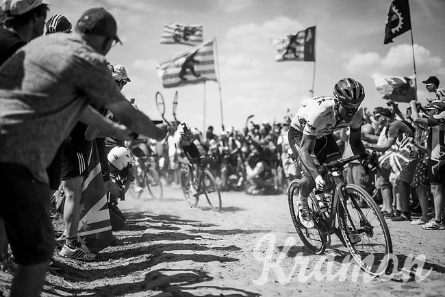 John Degenkolb (DEU/Trek-Segafredo) on pavé sector #4<br /> <br /> Stage 9: Arras Citadelle > Roubaix (154km)<br /> <br /> 105th Tour de France 2018<br /> ©kramon