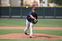 Cleveland Indians relief pitcher Luis Jimenez (63) during a Minor League Spring Training game against the San Francisco Giants at the San Francisco Giants Training Complex on March 14, 2018 in Scottsdale, Arizona. (Zachary Lucy/Four Seam Images)