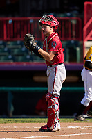 Harrisburg Senators catcher Brady Lindsly (34) during a game against the Erie Seawolves on September 5, 2021 at UPMC Park in Erie, Pennsylvania.  (Mike Janes/Four Seam Images)