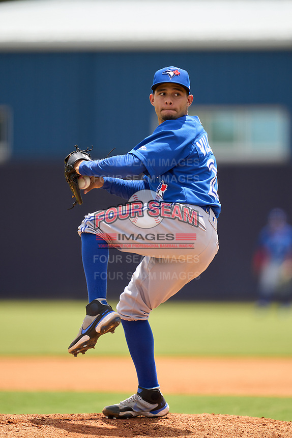 FCL Blue Jays pitcher Guillermo Villasmil (20) during a game against the FCL Yankees on June 29, 2021 at the Yankees Minor League Complex in Tampa, Florida.  (Mike Janes/Four Seam Images)