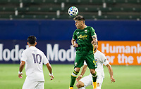 CARSON, CA - OCTOBER 07: Felipe Mora #9 of the Portland Timbers with a head ball during a game between Portland Timbers and Los Angeles Galaxy at Dignity Heath Sports Park on October 07, 2020 in Carson, California.