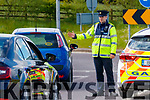 Garda Brendan Houlihan at a checkpoint at Leith roundabout in Tralee on Tuesday.