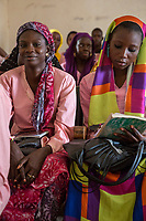 Senegal, Touba.  Young Women at the Al-Azhar Institute of Islamic Studies.