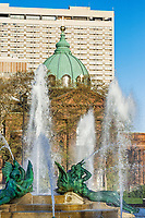 Swann Fountain in Logan's Circle, Philadelphia, Pennsylvania, USA.