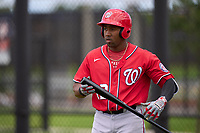 Washington Nationals Omar Meregildo (12) bats during a Minor League Spring Training game against the Houston Astros on April 27, 2021 at FITTEAM Ballpark of the Palm Beaches in Palm Beach, Fla.  (Mike Janes/Four Seam Images)