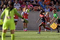 Houston, TX - Sunday Oct. 09, 2016: Sabrina D'Angelo, Crystal Dunn during the National Women's Soccer League (NWSL) Championship match between the Washington Spirit and the Western New York Flash at BBVA Compass Stadium. The Western New York Flash win 3-2 on penalty kicks after playing to a 2-2 tie.