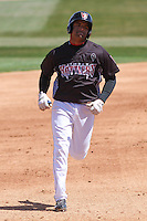 Wisconsin Timber Rattlers third baseman Sthervin Matos (9) runs the bases during a game against the Peoria Chiefs on April 25th, 2015 at Fox Cities Stadium in Appleton, Wisconsin.  Wisconsin defeated Peoria 2-0.  (Brad Krause/Four Seam Images)