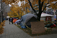 Montreal  (Quebec) CANADA - Nov 2011 File Photo -Les Indignes, Montreal's version of Occupy Wall Street camp at Victoria Square
