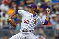 Louisiana State pitcher Chris Cotton (58) delivers a pitch to the plate against the North Carolina Tar Heels during Game 7 of the 2013 Men's College World Series on June 18, 2013 at TD Ameritrade Park in Omaha, Nebraska. The Tar Heels defeated the Tigers 4-2, eliminating LSU from the tournament. (Andrew Woolley/Four Seam Images)