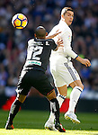 Real Madrid's Cristiano Ronaldo (r) and Granada CF's Gabriel Silva during La Liga match. January 7,2016. (ALTERPHOTOS/Acero)