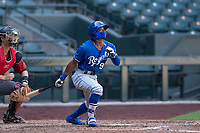 Kansas City Royals outfielder Rudy Martin (9) follows through on his swing during an Instructional League game against the Arizona Diamondbacks at Chase Field on October 14, 2017 in Scottsdale, Arizona. (Zachary Lucy/Four Seam Images)