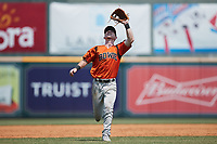 Bowie Baysox third baseman Patrick Dorrian (4) tracks a pop fly during the game against the Richmond Flying Squirrels at The Diamond on July 28, 2021, in Richmond Virginia. (Brian Westerholt/Four Seam Images)