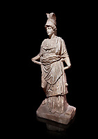 Roman statue of Athena. Marble. Perge. 2nd century AD. Inv no . Antalya Archaeology Museum; Turkey. Against a black background.