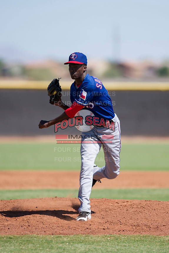 Texas Rangers pitcher Reiver Sanmartin (70) follows through on his delivery during an Instructional League game against the San Diego Padres on September 20, 2017 at Peoria Sports Complex in Peoria, Arizona. (Zachary Lucy/Four Seam Images)