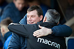 St Johnstone v Ross County…24.02.18…  McDiarmid Park    SPFL<br />Tommy Wright hugs Owen Coyle before kick off<br />Picture by Graeme Hart. <br />Copyright Perthshire Picture Agency<br />Tel: 01738 623350  Mobile: 07990 594431