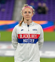 ORLANDO, FL - JANUARY 18: Becky Sauerbrunn #4 of the USWNT stands on the field before a game between Colombia and USWNT at Exploria Stadium on January 18, 2021 in Orlando, Florida.