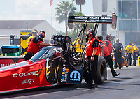Sep 26, 2020; Gainesville, Florida, USA; Crew members for NHRA top fuel driver Leah Pruett during qualifying for the Gatornationals at Gainesville Raceway. Mandatory Credit: Mark J. Rebilas-USA TODAY Sports