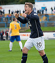 Dundee's Jim McAlister's celebration is cut short after his goal was waved offside by Assistant Referee Morag Pirie.