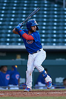 AZL Cubs 1 Richard Nunez (5) at bat during an Arizona League game against the AZL Athletics Gold at Sloan Park on June 20, 2019 in Mesa, Arizona. AZL Athletics Gold defeated AZL Cubs 1 21-3. (Zachary Lucy/Four Seam Images)