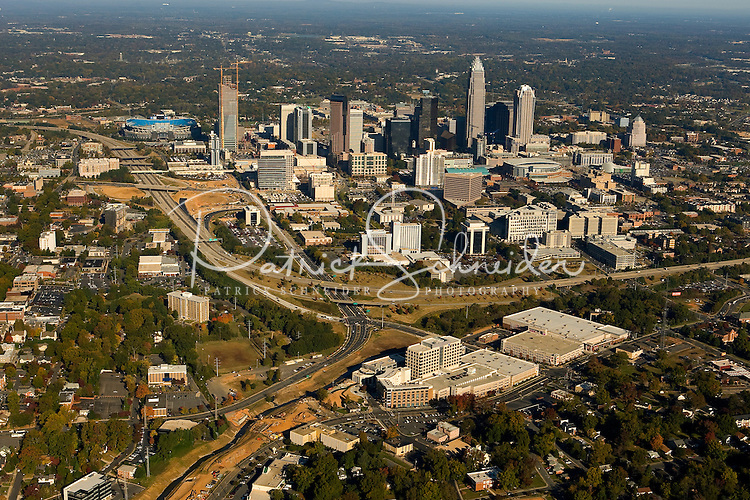 Aerial view of Charlotte's quickly growing downtown.