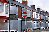 """Terraced housing awaiting probable demolition in an area of """"low demand"""" in South Bank, Middlesborough."""
