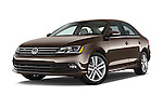 Stock pictures of low aggressive front three quarter view of a 2015 Volkswagen Jetta 2.5L SEL 4 Door Sedan Low Aggressive