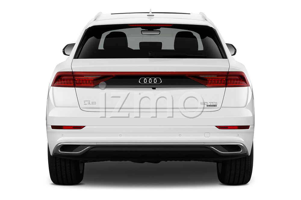 Straight rear view of 2019 Audi Q8 - 5 Door SUV Rear View  stock images