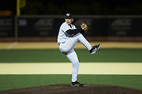 Wake Forest Demon Deacons relief pitcher Bobby Hearn (34) in action against the Louisville Cardinals at David F. Couch Ballpark on March 6, 2020 in  Winston-Salem, North Carolina. The Cardinals defeated the Demon Deacons 4-1. (Brian Westerholt/Four Seam Images)