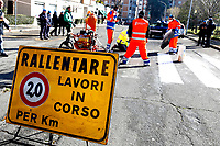 Rome January 29th 2019. Detainees from Rome jail Rebibbia working for the rebuilding of the road surface, cleaning of manholes and painting of the horizontal signs, within a program of rehabilitation.<br /> Foto Samantha Zucchi Insidefoto