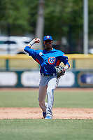 Tennessee Smokies Luis Vazquez (40) throws to first base for the out during a Southern League game against the Jacksonville Jumbo Shrimp on April 29, 2019 at Baseball Grounds of Jacksonville in Jacksonville, Florida.  Tennessee defeated Jacksonville 4-1.  (Mike Janes/Four Seam Images)