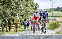 Pieter Serry (BEL/Deceuninck - Quick Step), Niki Terpstra (NED/TotalEnergies) & Guillaume Van Keirsbulck (BEL/Alpecin-Fenix) upping the pace in the peloton, storming over the cobbles<br /> <br /> Grote Prijs Marcel Kint 2021<br /> One day race from Zwevegem to Kortrijk (196km)<br /> <br /> ©kramon