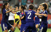 Players of team Japan celebrate during the FIFA Women's World Cup at the FIFA Stadium in Wolfsburg, Germany on July 9th, 2011.