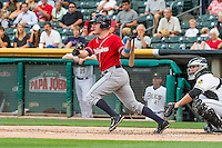 Patrick Kivlehan (27) of the Tacoma Rainiers at bat against the Salt Lake Bees in Pacific Coast League action at Smith's Ballpark on September 1, 2015 in Salt Lake City, Utah. The Bees defeated the Rainiers 10-1.  (Stephen Smith/Four Seam Images)