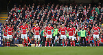 The Welsh players line up behind the posts after Ireland score their first try of the match..RBS 6 Nations.Wales v Ireland.Millennium Stadium.02.02.13.©Steve Pope-SPORTINGWALES