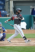 Edwin Moreno (15) of the Lake Elsinore Storm bats against the Rancho Cucamonga Quakes at LoanMart Field on April 10, 2016 in Rancho Cucamonga, California. Lake Elsinore defeated Rancho Cucamonga, 7-6. (Larry Goren/Four Seam Images)