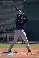 Seattle Mariners outfielder Ronald Rosario (20) at bat during an Extended Spring Training game against the San Francisco Giants Orange at the San Francisco Giants Training Complex on May 28, 2018 in Scottsdale, Arizona. (Zachary Lucy/Four Seam Images)