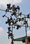 09 June 06: A scene showing a few of the remote cameras from the photographers' stand at the finish line on Belmont Stakes Day at Belmont Park in Elmont, New York.