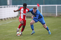 Idries Turay of Clapton and Harry Gibbs of Redbridge during Redbridge vs Clapton, Len Cordell Memorial Cup Football at Oakside Stadium on 10th April 2021