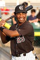 Third baseman Edwin Encarnacion (23) of the Potomac Cannons, a Cincinnati Reds farm team, taken July 24, 2003, at Pfitzner Stadium in Woodbridge, Virginia. (Tom Priddy/Four Seam Images)