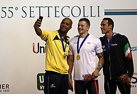Swimming 55° Settecolli trophy Foro Italico, Rome on June 30, June 2018.<br /> Men's 50 meters Breaststroke podium at the Settecolli swimming trophy: Adam Peaty (c), of Great Britain, goal medal, Joao Gomes Junior (l), of Brazil, silver medal, Fabio Scozzoli (r), of Italy, bronze medal. <br /> Rome, on June 30, 2018.<br /> UPDATE IMAGES PRESS/Isabella Bonotto